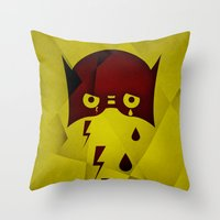 hero Throw Pillows featuring Hero by PingPongPrints