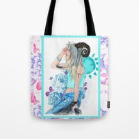 aries Tote Bags featuring Aries by Sara Eshak