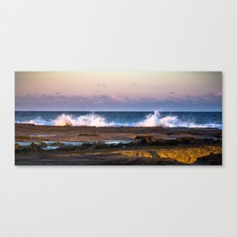 Merewether Beach, Newcastle Wave Crashing w/Sunset, Winter (Landscape) Canvas Print