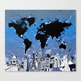 world map city skyline 8 Canvas Print