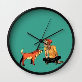 pet the dog Wall Clock