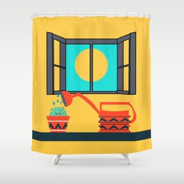 Cactus watering Shower Curtain