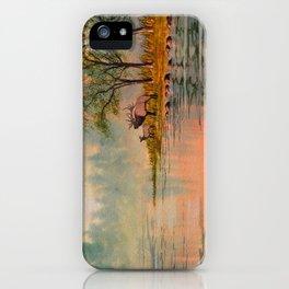 Elk Beside A misty River iPhone Case