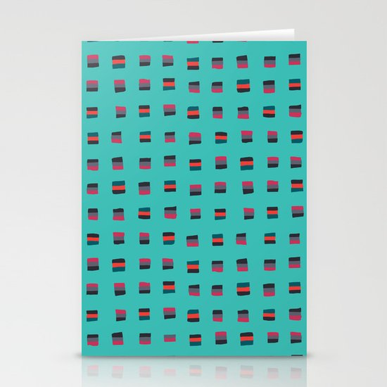 Pixel Pattern turquoise Stationery Cards