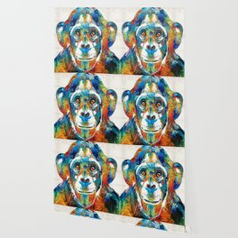 Colorful Chimp Art - Monkey Business - By Sharon Cummings Wallpaper