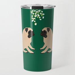 Pug Mistletoe Travel Mug
