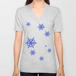 DECORATIVE WINTER WHITE SNOWFLAKES Unisex V-Neck