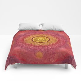 """Strawberry pink shades & Gold Mandala (pattern)"" Comforters"
