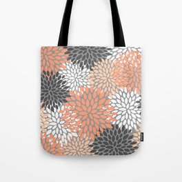 Floral Pattern, Coral, Gray, White Tote Bag