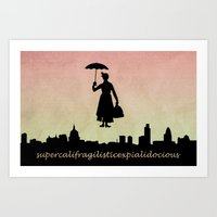 mary poppins Art Prints featuring mary poppins by cubik rubik