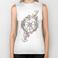 watercolor Biker Tanks featuring Bon Voyage by Norman Duenas