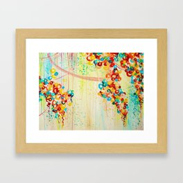 SUMMER IN BLOOM - Beautiful Abstract Acrylic Painting Vibrant Rainbow Floral Nature Theme  Framed Art Print