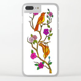 Bird on Cherry Blossom Low Polygon Clear iPhone Case