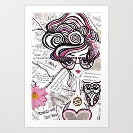 Positive Art and Girls with Owls Art Decor Collection: Emma Art Print