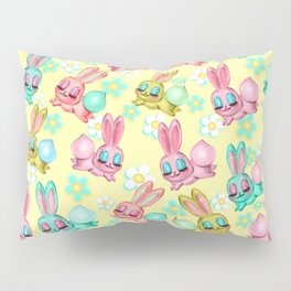 Bunnies and Daisies on Yellow Pillow Sham