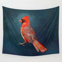 cardinal Wall Tapestries featuring Cardinal by Freeminds