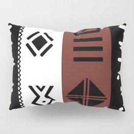 Black White Brown African Kente Pattern Pillow Sham
