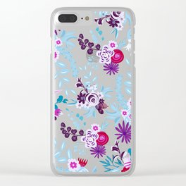 Abstract pastel blue pink country flowers pattern Clear iPhone Case