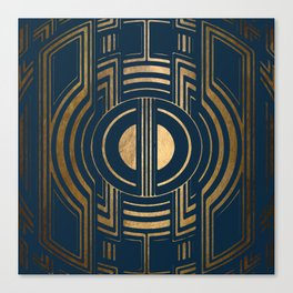Art Deco Unfinished Love In Blue Canvas Print