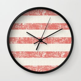 Maritime Beach Pattern- Red and White Stripes- Horizontal- Wall Clock