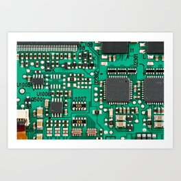 Electronic circuit board with processor Art Print