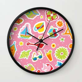 Summer Fun Pink Wall Clock