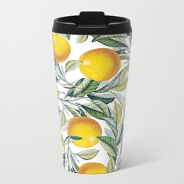 Lemon and Leaf Pattern VI Metal Travel Mug
