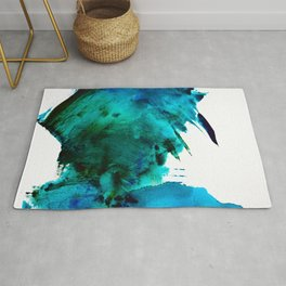 Crashing Waves: a vibrant minimal abstract design in blue, green, and white by Alyssa Hamilton Art  Rug