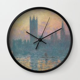 The Houses of Parliament  Sunset by Claude Monet Wall Clock