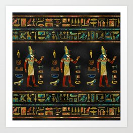 Egyptian  Gold, Teal and Red  glass pattern Art Print