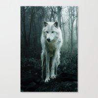 wolf Canvas Prints featuring Wolf by Julie Hoddinott