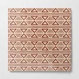 Mudcloth Pattern 335 Red Ochre and Beige Metal Print