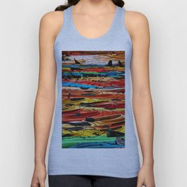 Several different color of Kayaks Unisex Tank Top