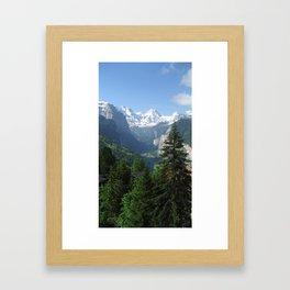 Lauterbrunnen Valley below and Breithorn above Framed Art Print