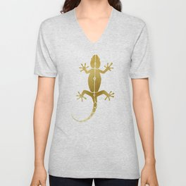 Cute abstract gecko lizard metallic gold Unisex V-Neck