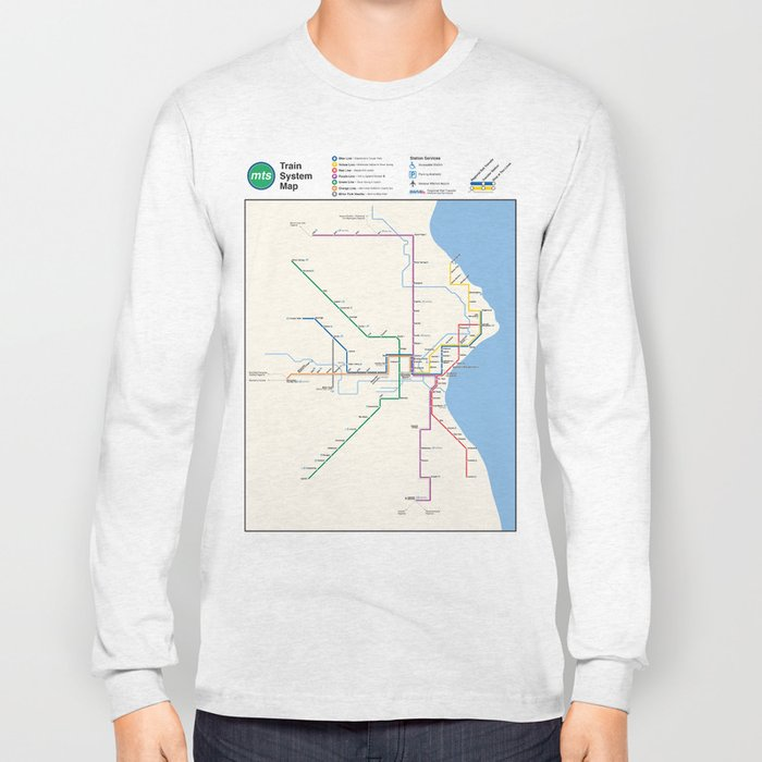 Milwaukee Transit System Map Long Sleeve T-shirt