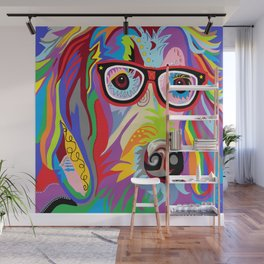 Smart Retriever Hipster with Glasses Wall Mural