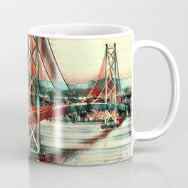 Lit Akashi Strait Bridge Under Vibrant Sky Art Coffee Mug