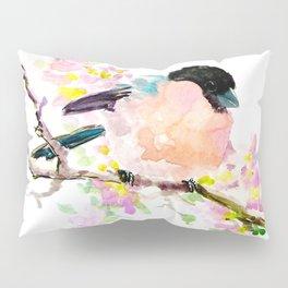 cute bird art, Bullfinch and Spring Pillow Sham