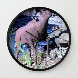 Metal Mountain Goat - Spokane, WA Wall Clock