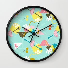 Pink Flamingo Cocktails Wall Clock