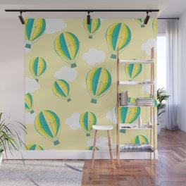 Hot air balloons and clouds - yellow Wall Mural