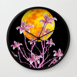 PINK ASIATIC STAR LILIES MOON FANTASY Wall Clock
