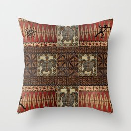 Hawaiian Petroglyph Tapa Cloth Throw Pillow