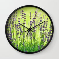 lavender Wall Clocks featuring Lavender by Tanja Riedel