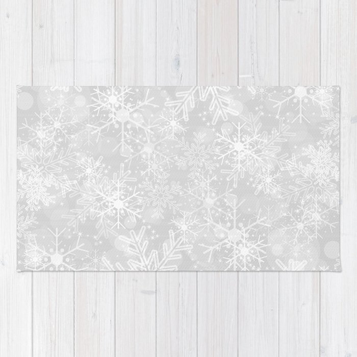 Silver Snowflakes Rug