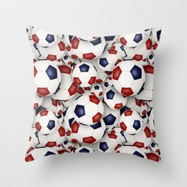 Red white and blue soccer balls Throw Pillow