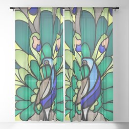 Peacock Stained Glass Sheer Curtain