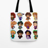 percy jackson Tote Bags featuring Chibis of Olympus by chubunu