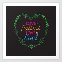 Love Is Heart Lettering Floral Design Art Print